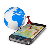 Navigation in phone. Isolated 3D image — Stock Photo