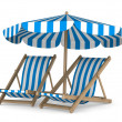 Two deckchair and parasol on white background. Isolated 3D image — Stock Photo