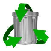 Recyclage pijlen en vuilnis mand. geïsoleerde 3d-beeld — Stockfoto