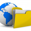 Yellow computer folder and globe on white background. Isolated 3 — Stock Photo #8030117