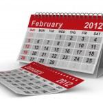 2012 year calendar. February. Isolated 3D image — Stock Photo