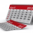 2012 year calendar. April. Isolated 3D image — Stock Photo