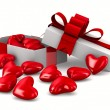 White gift box and hearts. Isolated 3D image — Stock Photo
