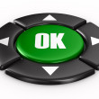 Button ok on white background. Isolated 3D image - Stock Photo