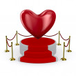 Podium and heart on white background. Isolated 3D image - Stock Photo