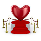 Podium and heart on white background. Isolated 3D image — Stock Photo