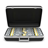 Case with money on white background. isolated 3D image — Stock Photo