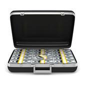 Case with money on white background. isolated 3D image — Stock Photo