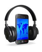 Teléfono y auricular sobre fondo blanco. imagen 3d aislada — Foto de Stock