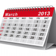 2013 year calendar. March. Isolated 3D image — Stockfoto