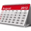 2013 year calendar. August. Isolated 3D image — Stock Photo