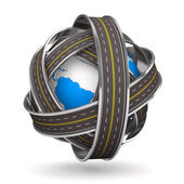 Roads round globe on white background. Isolated 3D image — Stock fotografie
