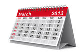 2013 year calendar. March. Isolated 3D image — Zdjęcie stockowe