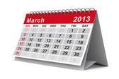 Kalendář pro rok 2013. březen. izolované 3d obraz — Stock fotografie