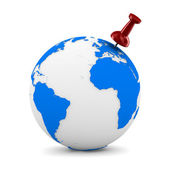 Red thumbtack on globe. Isolated 3D image — Stock Photo