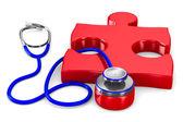 Stethoscope and puzzle on white background. Isolated 3D image — Stock Photo