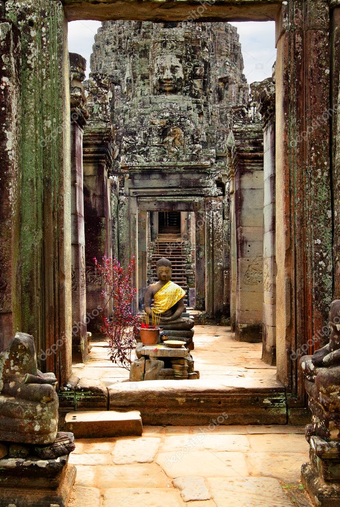 Buddha near entrance to Bayon temple, Angkor, Cambodia  Stock Photo #8684661