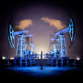 Oil Rigs at night. — Stock Photo
