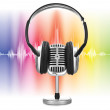 Retro microphone with audio wave — Stock Photo