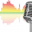 Stock Photo: Retro microphone with audio wave