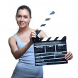 Attractive young woman with movie clapper - Stok fotoraf