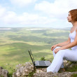 Beauty woman with laptop — Stock Photo #8623524