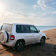 Off-road vehicle on the beach — Stock Photo