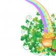 Pot of Gold and Rainbow - Stock Vector