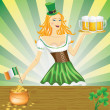 Royalty-Free Stock Vector Image: Cute girl serving Saint Patrick\'s Day