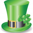 Irish hat replicon with three clover trefoils — Stock Vector