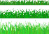 3 backgrounds of fresh spring green grass Isolated On White. Vec — Stock Vector