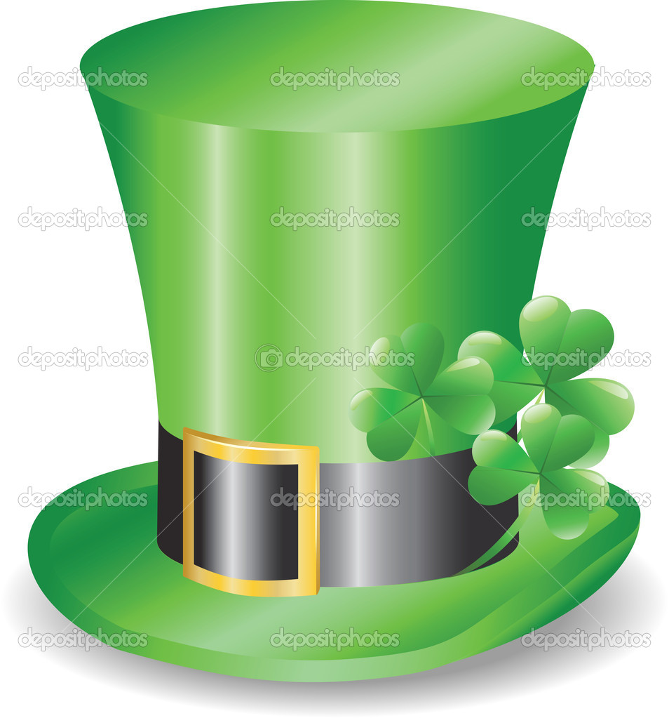Irish hat replicon with three clover trefoils — Stock Vector #9176056
