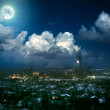 Factory in moon night - Stock Photo