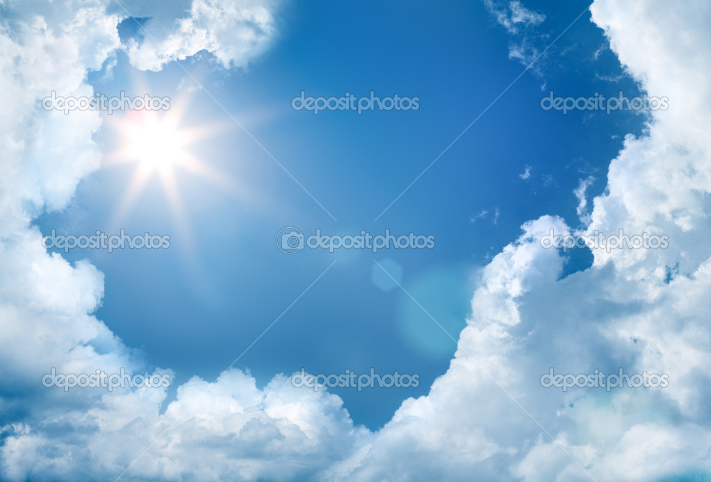 Sky with clouds and sun  Stock Photo #9694773