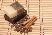 Spa soap, coffee and cinnamon — Stock Photo