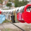 Red padlock in the shape of heart — Stock Photo