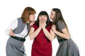 Trzy dziewczyny mówić — Zdjęcie stockowe