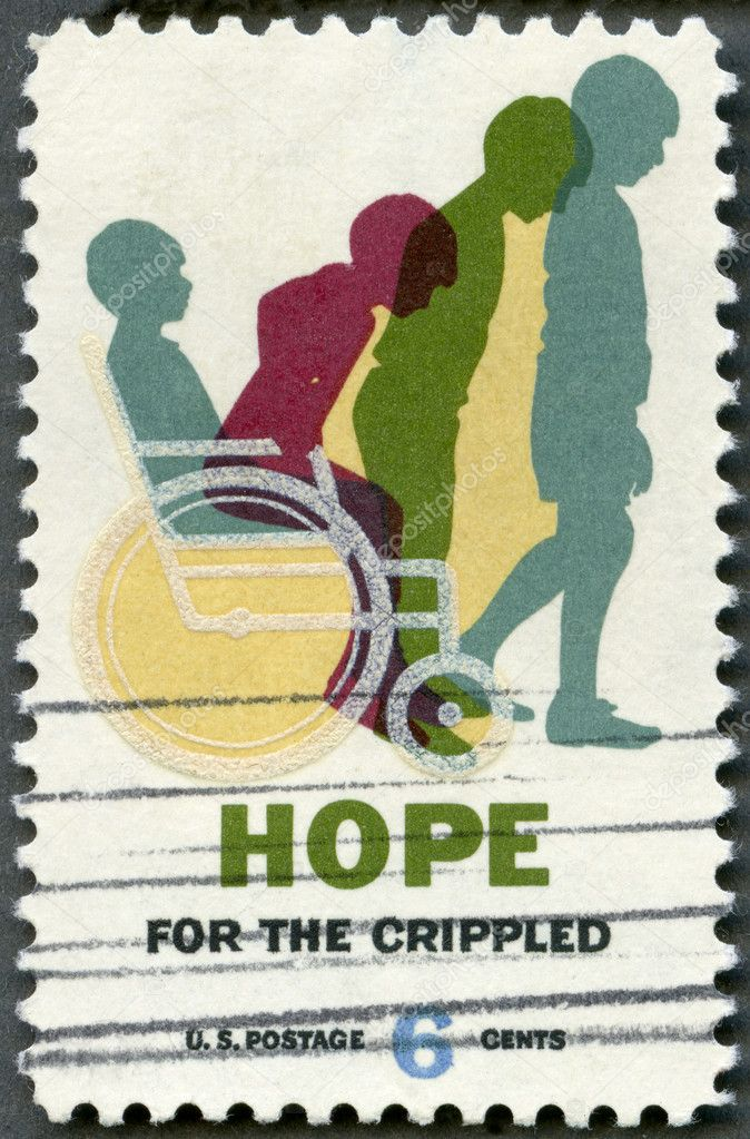 USA - CIRCA 1969: shows Cured Child, Hope for Crippled Issue, Issued to encourage the rehabilitation of crippled children and adults, and to honor the National Society for Crippled Children and Adults (Easter Seal Society) on on its 50th anniversary — Stock Photo #10518686