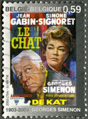 """BELGIUM - 2003: Poster for """"The Cat"""", created by Georges Simenon — Stock Photo"""