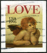 "USA - 1995: shows word ""love"" and Cherub from Sistine Madonna, b — Stock Photo"