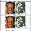 POLAND - 1981: shows Pablo Picasso (1881-1973), artist, birth centenary, with label showing A Crying Woman — Stock Photo #10709147