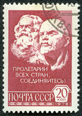 USSR - CIRCA 1976: A Stamp printed in USSR shows Marx and Lenin — Stock Photo