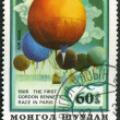 Stock Photo: MONGOLI- CIRC1982: stamp printed in Mongolishows balloon