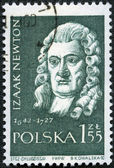 POLAND - CIRCA 1959: A stamp printed in Poland shows Isaac Newto — Stock Photo