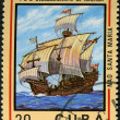CUBA - CIRCA 1982: A stamp printed in Cuba shows ship Santa Maria — Foto de Stock