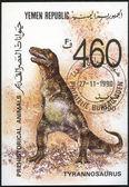 Republika jemenu - circa 1990: pokazuje tyranozaura, prehistorycznych zwierząt — Zdjęcie stockowe