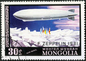 MONGOLIA - CIRCA 1977: shows dirigible balloon F.Zeppelin over North Pole — Stock Photo