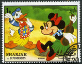 SHARJAH & DEPENDENCIES - CIRCA 1972: shows Donald Duck and Minnie — Stock Photo