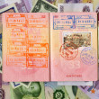 Passport with turkish visa and stamps on a different money backg — Stock Photo #9221697