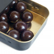 Chocolate balls in box — Stock Photo